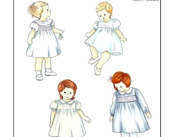 Creations by Michie' #146-S - Classic Dress with Smocked Insert or Embroidery - Sizes 3-24 mos - Sewing Pattern Instant Download Printable