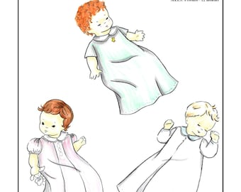 Creations by Michie' #119 - Baby Daygown - Sizes: Preemie -12 mos. - Sewing Pattern Instant Download Printable