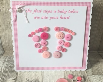 Large Scalloped Edge Button Baby Footprint Card