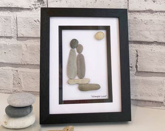 "Handmade Pebble Art ""Simple Love"", Pebble Art Love, Pebble Picture Lovers, Pebble Gifts, Framed Pebble Pictures, Wedding Gift, Valentines"