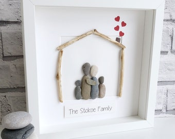 Framed Pebble Art, Family Pebble Art , Housewarming Gift, Family Pebble Picture, Mother's Day Gift, Mothers Day Gift personalised