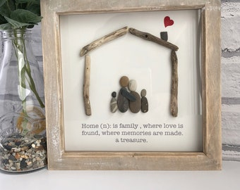"""Handmade Rustic Framed Pebble Art """"Home"""", Pebble Picture, Housewarming Gift, Family Pebble Picture, Framed Pebble Picture, Pebble Gift,"""