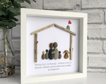 "Handmade Framed Pebble Art ""Home"", Pebble Picture, Housewarming Gift, Family Pebble Picture, Framed Pebble Picture, Pebble Gift"