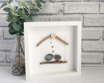 Handmade Pebble Art, Pebble Art Love Birds, Pebble Picture Love Birds, Pebble Gifts, Framed Pebble Pictures, Valentine Gift, Love Gift,