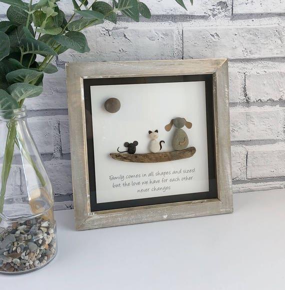 Handmade Rustic Framed Pebble Art Animal Family | Etsy