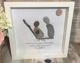"Handmade Framed Pebble Art ""New Baby"" Pebble Art Baby, Pebble Picture New baby, Pebble Gifts, Framed Pebble Pictures"