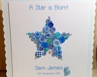 Large Scalloped Edge Button Baby Star Card