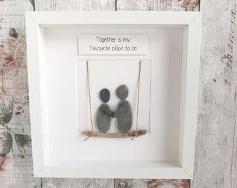 Handmade Pebble Art, Pebble Art Couple, Lovers Pebble Picture , Pebble Gifts, Framed Pebble Pictures. Valentines Gift, Pebble Valentines.