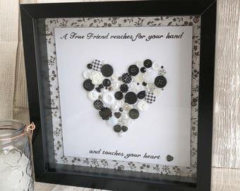 Handmade Button Heart Artwork, Button Picture, Button Keepsake, Button Picture, Button Keepsake, Friends Keepsake, Friends Gift,