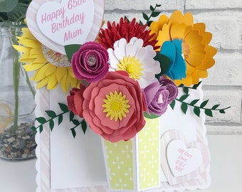 Large 3D Bouquet Card, 3D Birthday Card, 3D Cards, 3D Flower Cards, Mothers Day Cards,