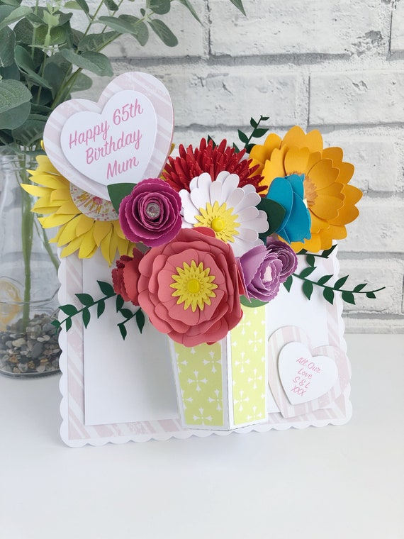 Large 3d Bouquet Card 3d Birthday Card 3d Cards 3d Flower Etsy