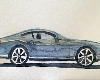 Bentley, Bentley Continental, Car watercolor, Watercolor car, car art, car painting, British car, exotic car, child artist, Bentley painting