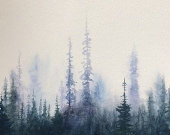 Forest painting, forest watercolor, pine forest, Misty forest, watercolor trees, Misty pines, pine tree painting, tree watercolor, painting