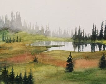 Pacific Northwest, alpine lakes, landscape painting, Cascades, Misty mountain lake, mountain lake, pine trees by lake, Misty landscape