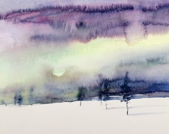 Landscape painting, Sky painting, winter landscape, snow painting, pine trees, stormy skies, abstract landscape, cloud painting, stormy