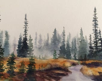 Rainier national park, pine tree painting, northwest landscape, landscape painting, watercolor trees, Pacific Northwest, tree painting, firs