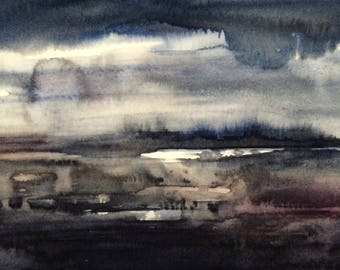 Abstract landscape, landscape painting, abstract painting, Watercolor landscape, storm cloud painting, stormy skies painting, watercolor