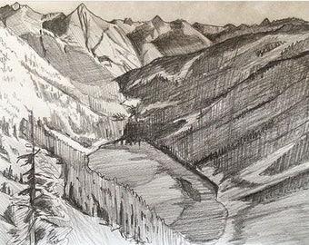 Pencil landscape, original pencil landscape, North Cascades pencil drawing, Cascades, Pacific Northwest, landscape drawing, lake mountains