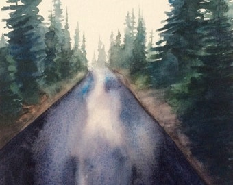 Forest road, pine trees, Pacific Northwest, Misty pines, PNW art, Misty landscape, tree painting, watercolor trees, watercolor painting