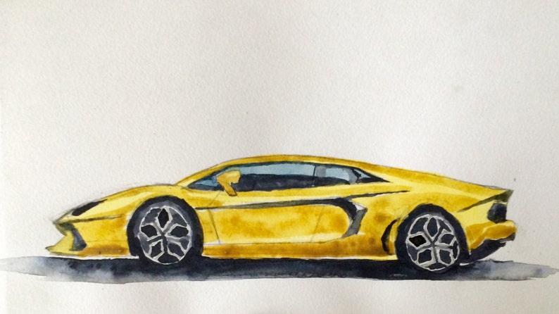 Lamborghini Aventador Car Painting Lamborghini Car Etsy