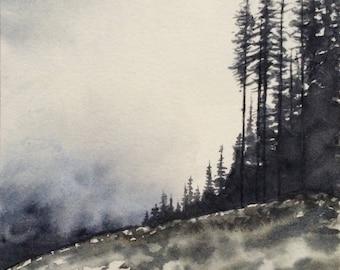 Landscape painting, Misty landscape, watercolor landscape, pine trees, Misty mountains, British Colombia, Sawblade falls, watercolor trees