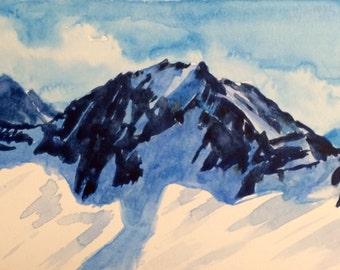 Mountain painting, Mountain top, North Cascades, Snowy mountain, mountain watercolor, Landscape watercolor, mountain range, Cascades