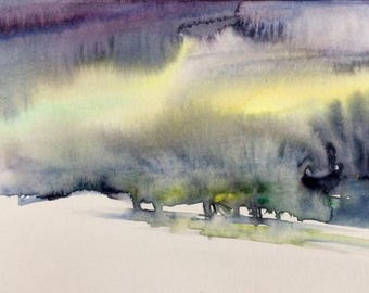 Sky painting, storm clouds, abstract landscape, Snow painting, wet in wet, landscape watercolor, landscape painting, Sky watercolor, Sky
