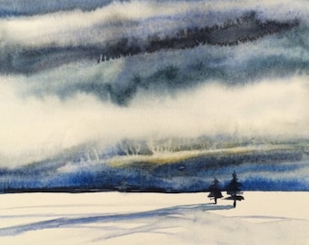 Cloud painting, Snow painting, Winter landscape, Winter painting, Snowscape, snow, Wilderness, Stormy skies, storm clouds