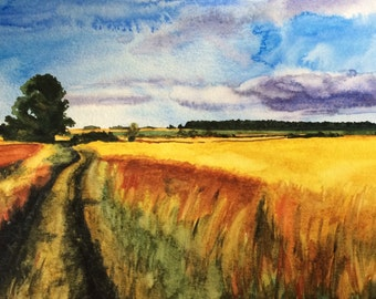 Wheat Field, English landscape, countryside, landscape, wheat, landscape watercolor, landscape painting, landscape, England