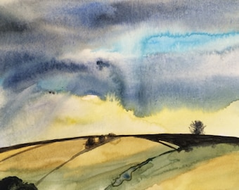 Cloud painting, Watercolor landscape, rain clouds, hills, Storm clouds, Sky painting, storm art, stormy watercolor, rain clouds