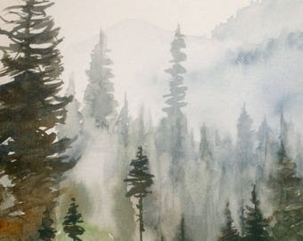 Pacific Northwest, Misty mountains, cascades, watercolor trees, pine trees, Misty pines, landscape painting, northwest landscape, trees