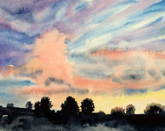 Sunset painting, sunset watercolor, watercolor landscape, urban painting, silhouette landscape, Sky painting, cloud painting, Sky watercolor