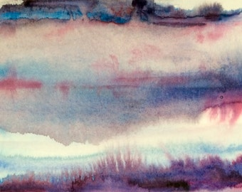 Abstract landscape, abstract watercolor, landscape watercolor, Abstract painting, contemporary painting, minimal watercolor, pink purple