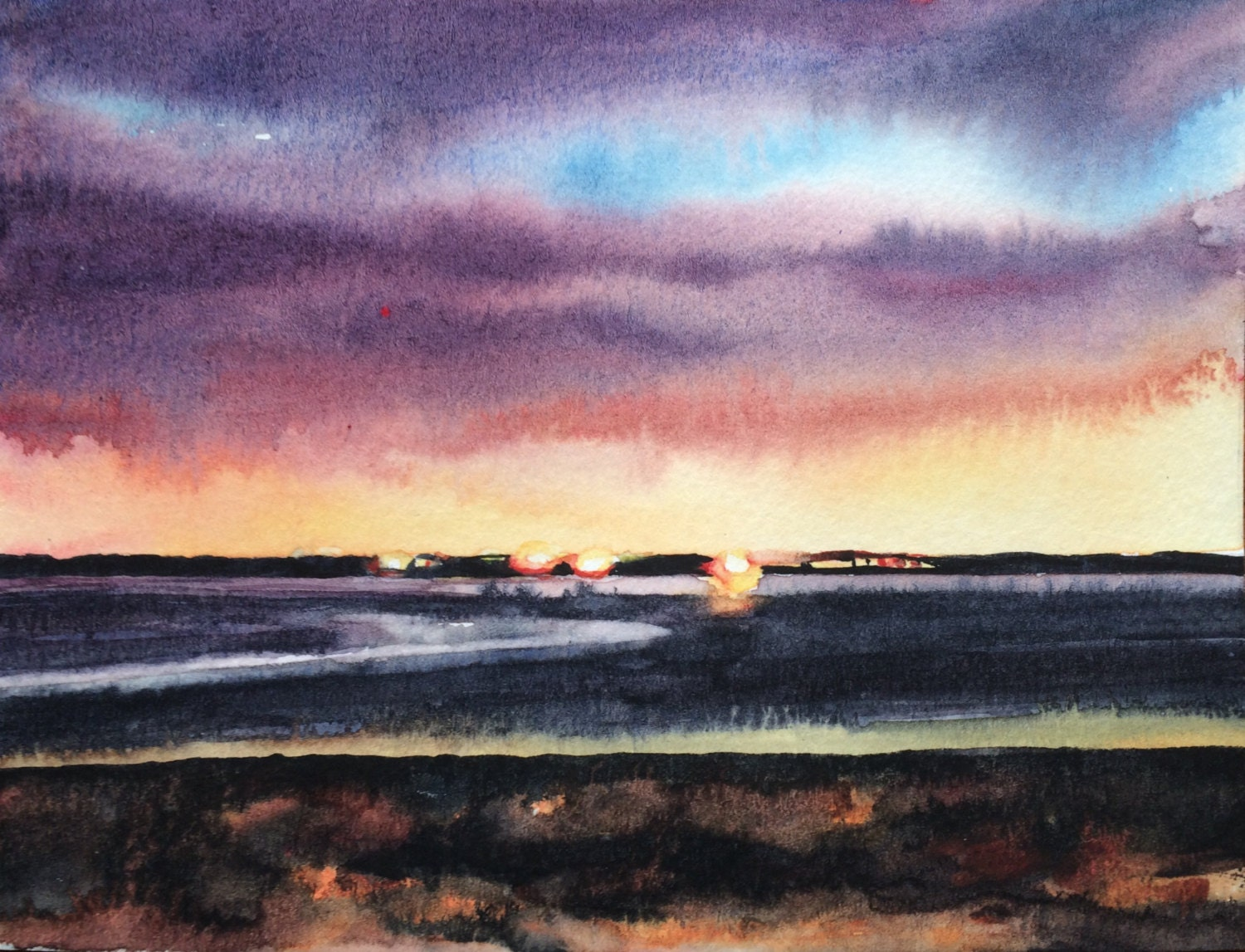 Morecambe Bay Sunset painting Cumbria Sea painting English ...