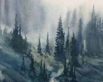 Watercolor trees, pine forest, pine tree painting, Misty mountains, Pacific Northwest, tree watercolor, tree painting, Landscape painting