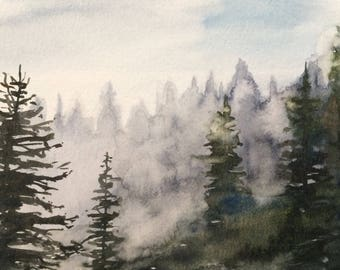 Rattlesnake Ledge, Pacific Northwest painting, northwest tree painting, trees of the Pacific Northwest, Misty pines, Misty watercolor, trees
