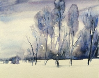Watercolor trees, winter trees, winter landscape, landscape watercolor, monochrome landscape, tree painting, snow painting, trees in snow
