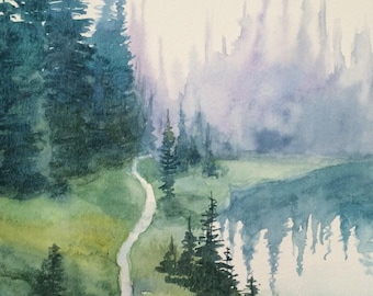 Cascades lake, alpine lake wilderness, Misty pine trees, pine trees, northwest landscape, landscape painting, Misty mountains, fir trees