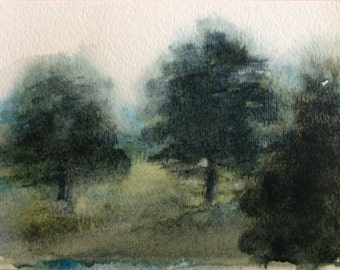 Watercolor trees, Tree painting, Misty trees, trees, 3 trees