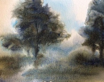 Watercolor trees, tree painting, Misty landscape, Constable