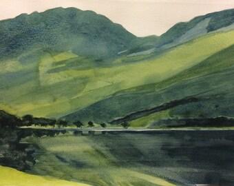Lake District, Buttermere, Buttermere Lake, Haystacks, English landscape, Cumbria, England, mountain lake, Lakeland, watercolor landscape