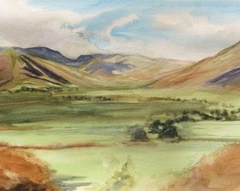 Lake District, Langdale Valley, Cumbria, Langdale, valley, English painting, Lakeland, English landscape, England
