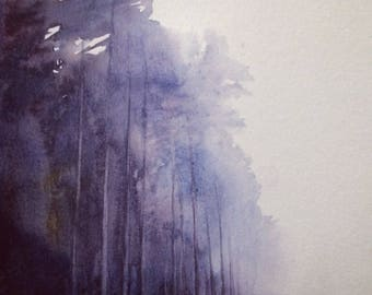 Pine forest, forest watercolor, forest painting, Misty forest, Purple forest, watercolor trees, Tree painting, pine tree painting, pines