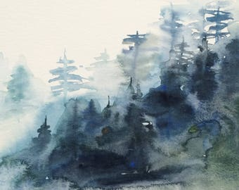 Misty mountain, Misty forest, Misty trees, forest painting, landscape watercolor, mountain mist, pine tree painting, Misty pines, Misty