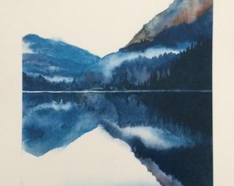 Pacific Northwest, North cascades, landscape watercolor, watercolor print, Diablo Lake, landscape watercolor print, mountain lake print