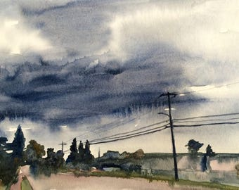 West Seattle, Urban painting, Seattle watercolor, urban watercolor, street painting, Genesee Street, Seattle Art, street painting,