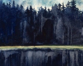 Landscape painting, landscape watercolor, forest painting, Forest watercolor, lake painting, tree painting, pine trees, watercolor trees
