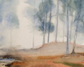 Misty forest, forest painting, Misty landscape, watercolor trees, Misty morning, reflection, landscape watercolor, Tree painting