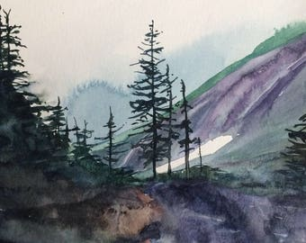 Mountain painting, Cascades, alpine wilderness, pine trees, Misty mountains, watercolor trees, Pacific Northwest, north cascades, trees