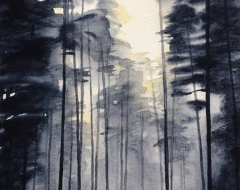 Forest painting, Forest watercolor, Misty forest, pine forest, watercolor trees, tree watercolor, Misty trees, Misty pines, tree painting